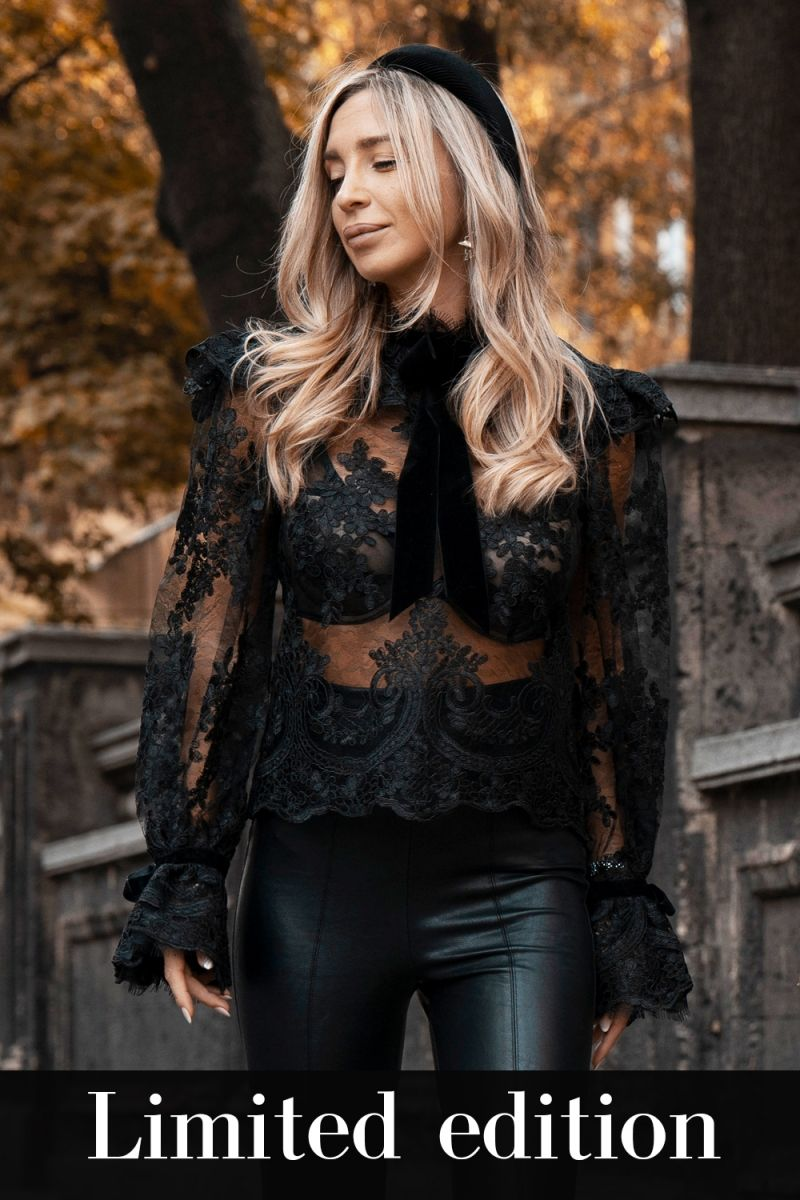 Lace High Neck Puff Sleeves lace shirt in black