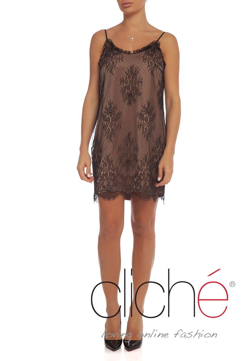 Double layer lace shift dress with contrast lining