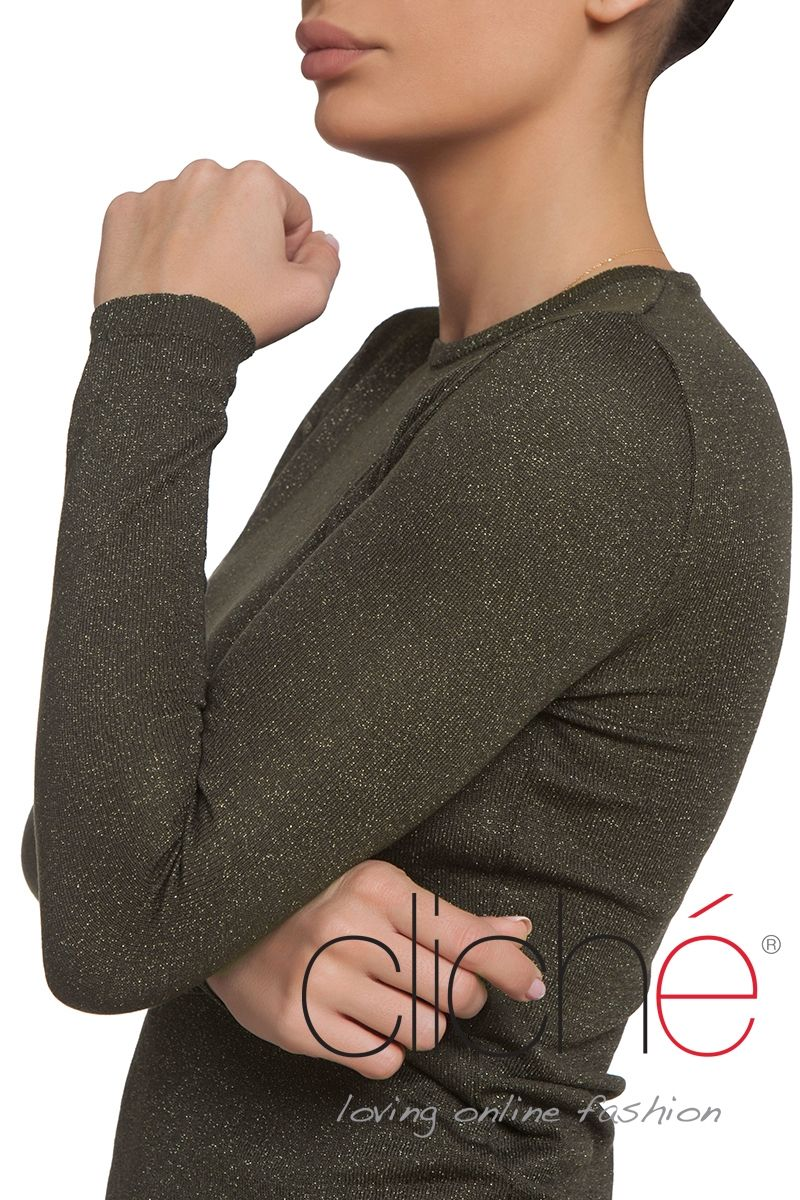 Khaki long sleeve knitted sweater