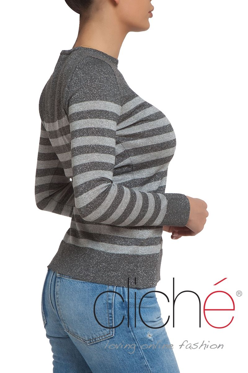Striped silver long sleeve sweater