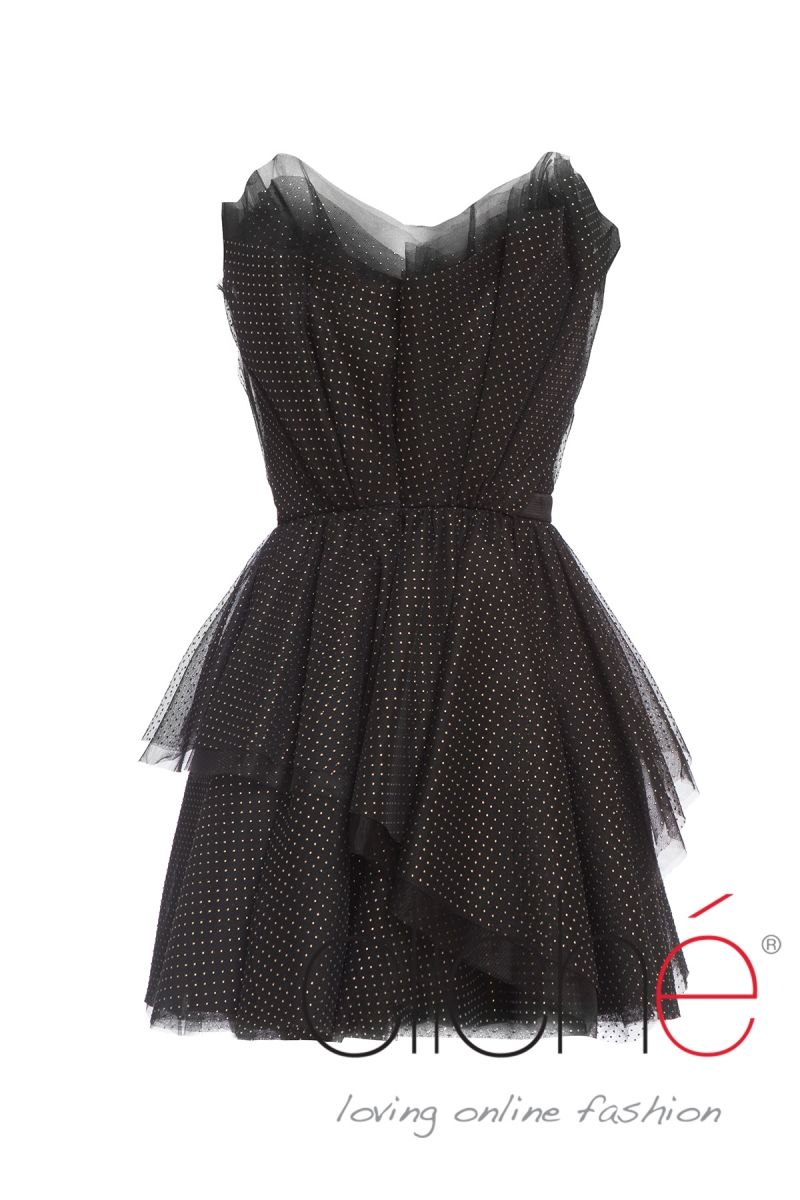 Polka dot bandeau tulle mini cocktail dress
