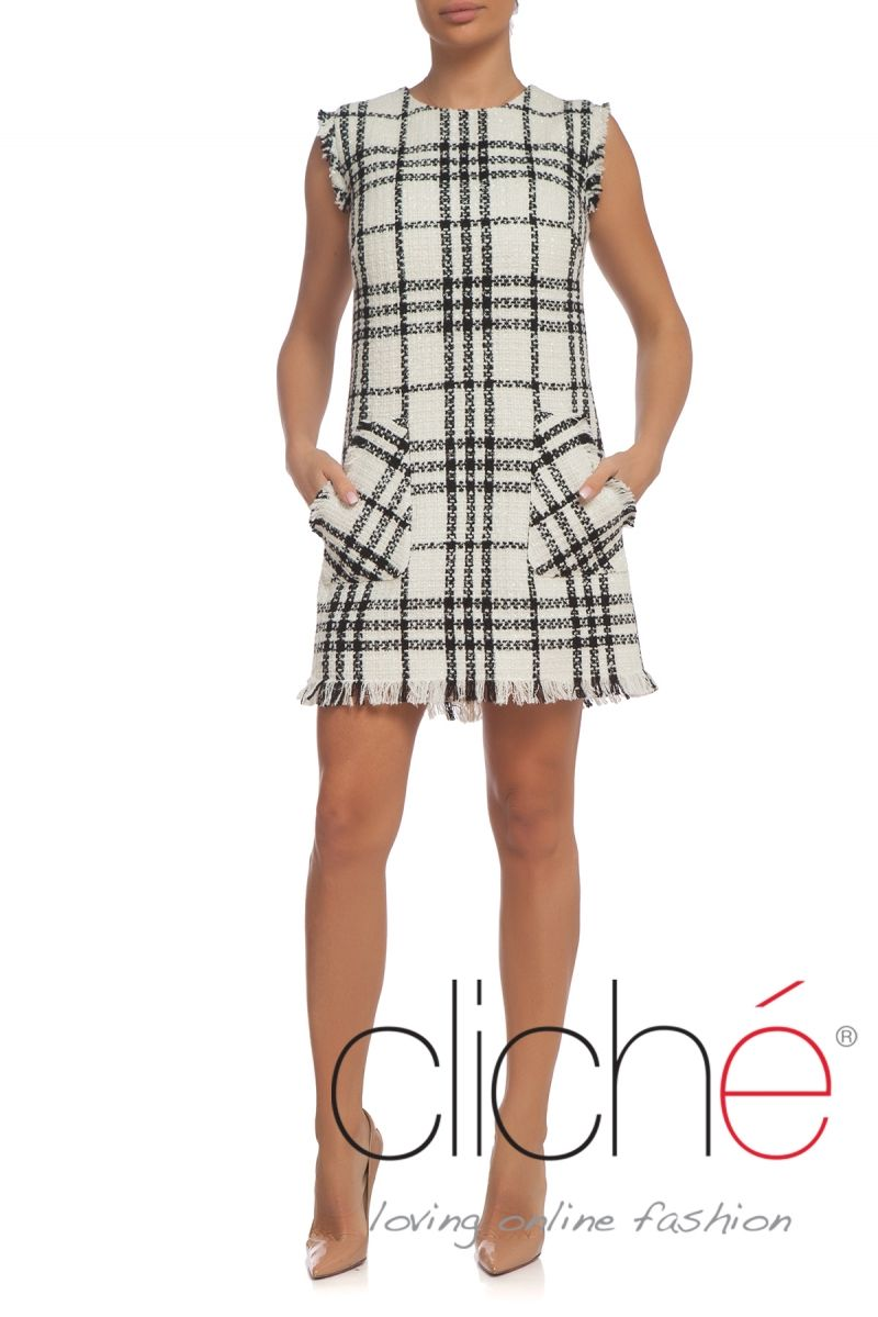 Black and white shift dress in tweed
