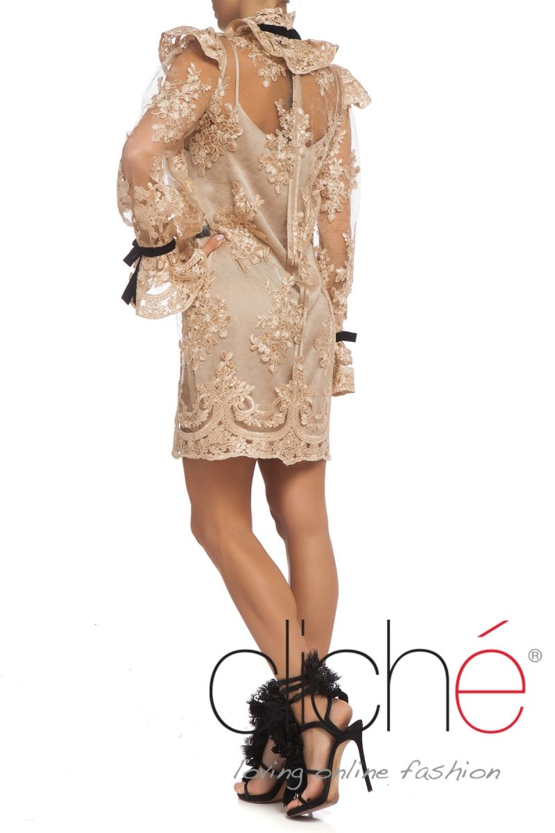 Lace high neck puff sleeves A line dress in gold