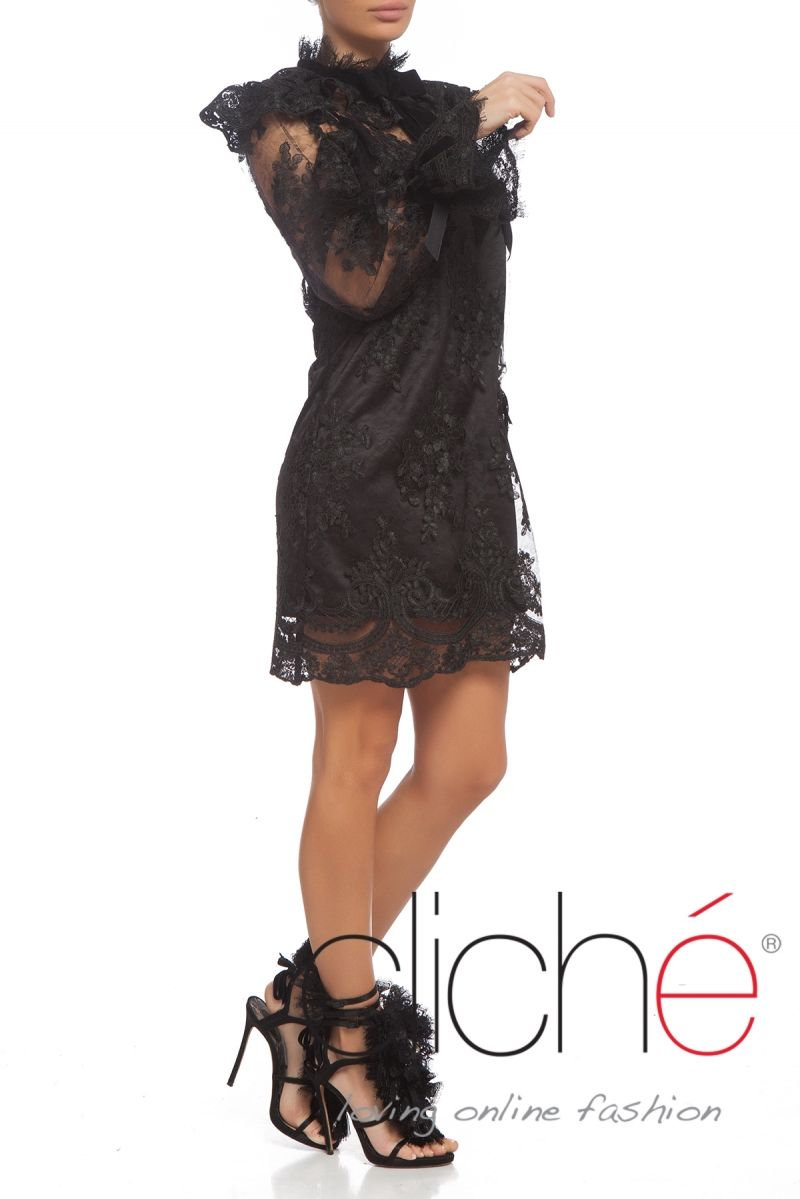 Lace high neck puff sleeves A line dress in black