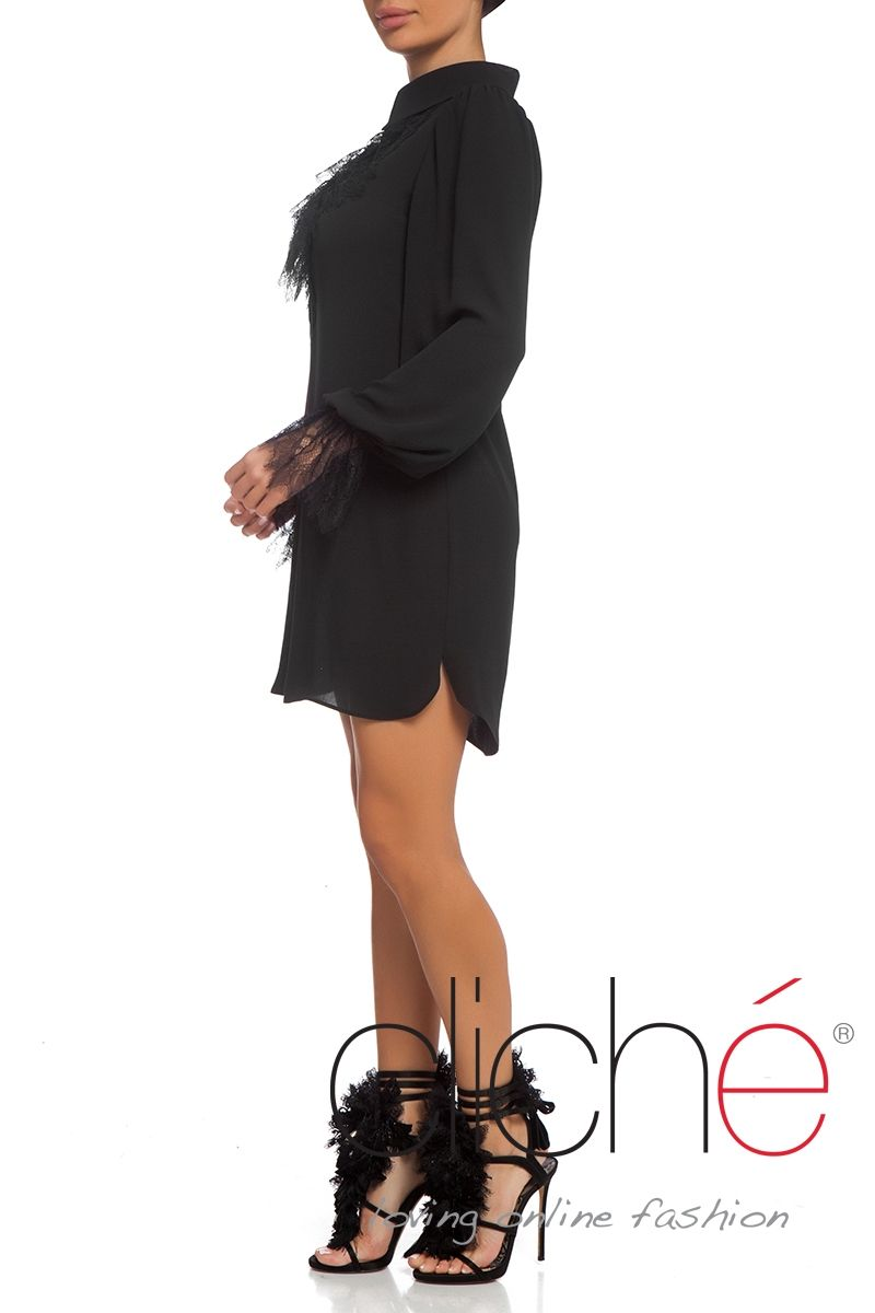 Shirt dress with ruffle lace neckline