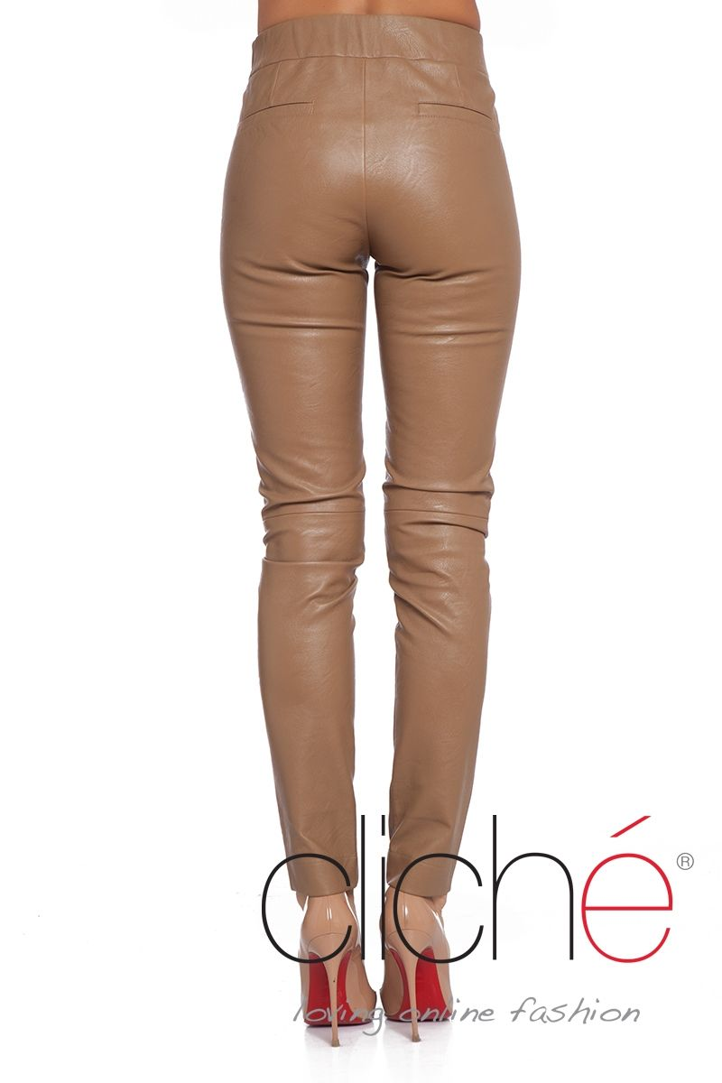 Leather skinny trousers in beige