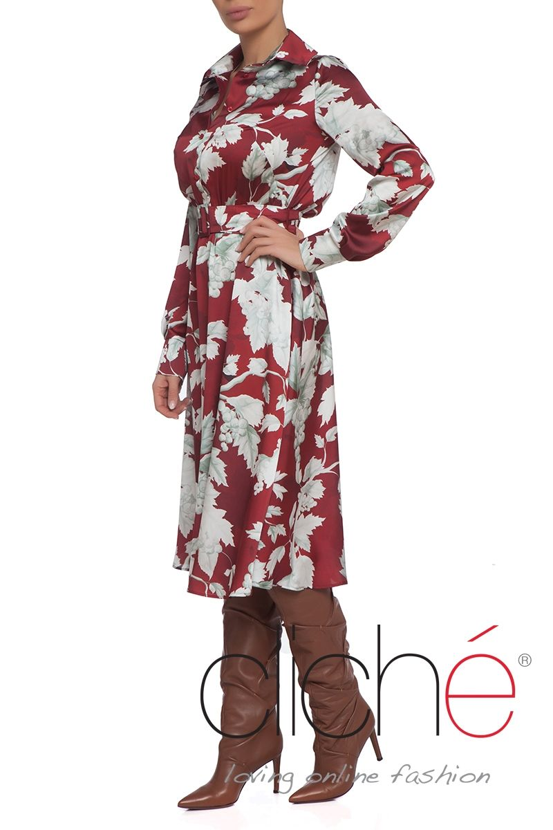Printed button through belted shirt dress