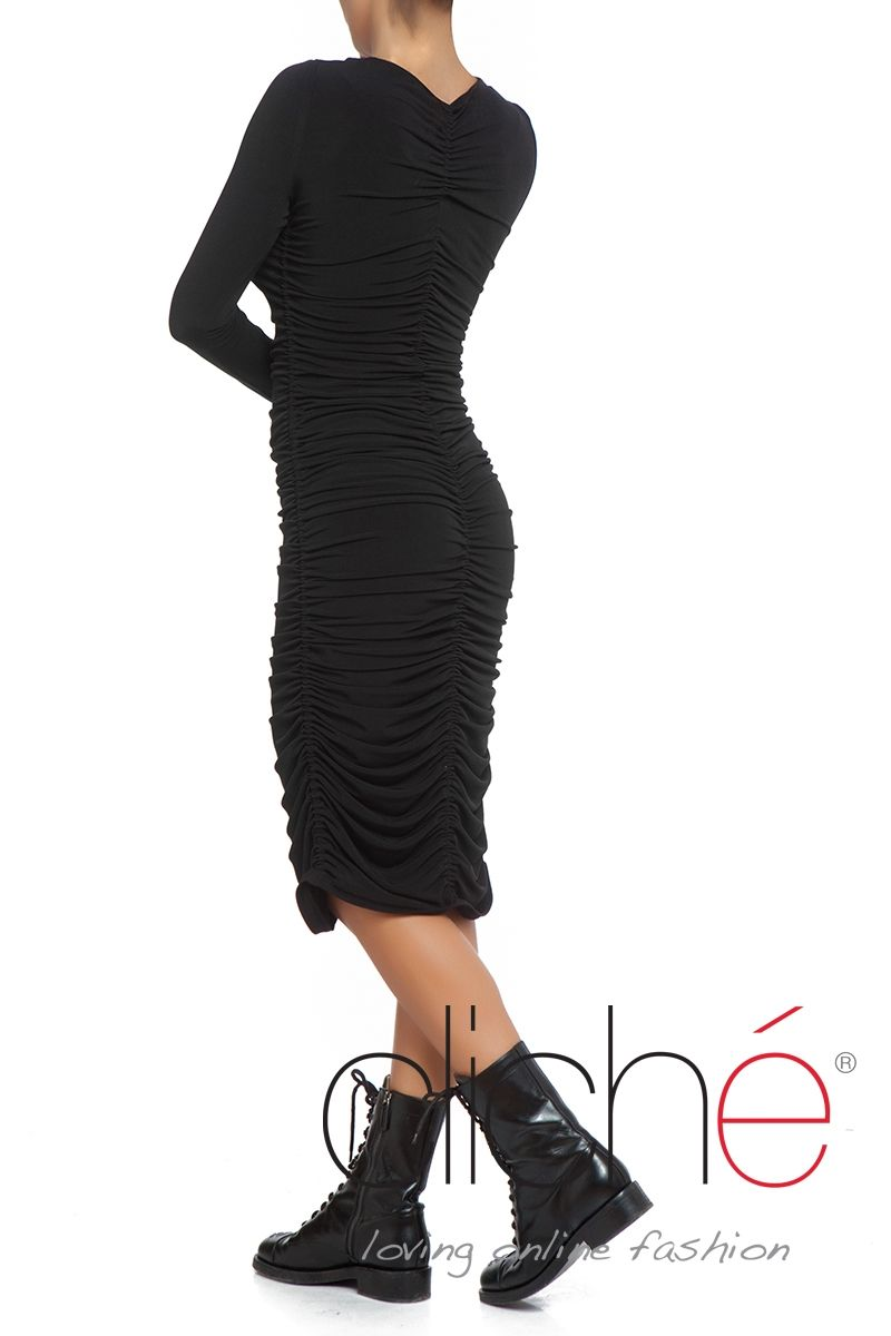 Ruched bodycon midi dress in black