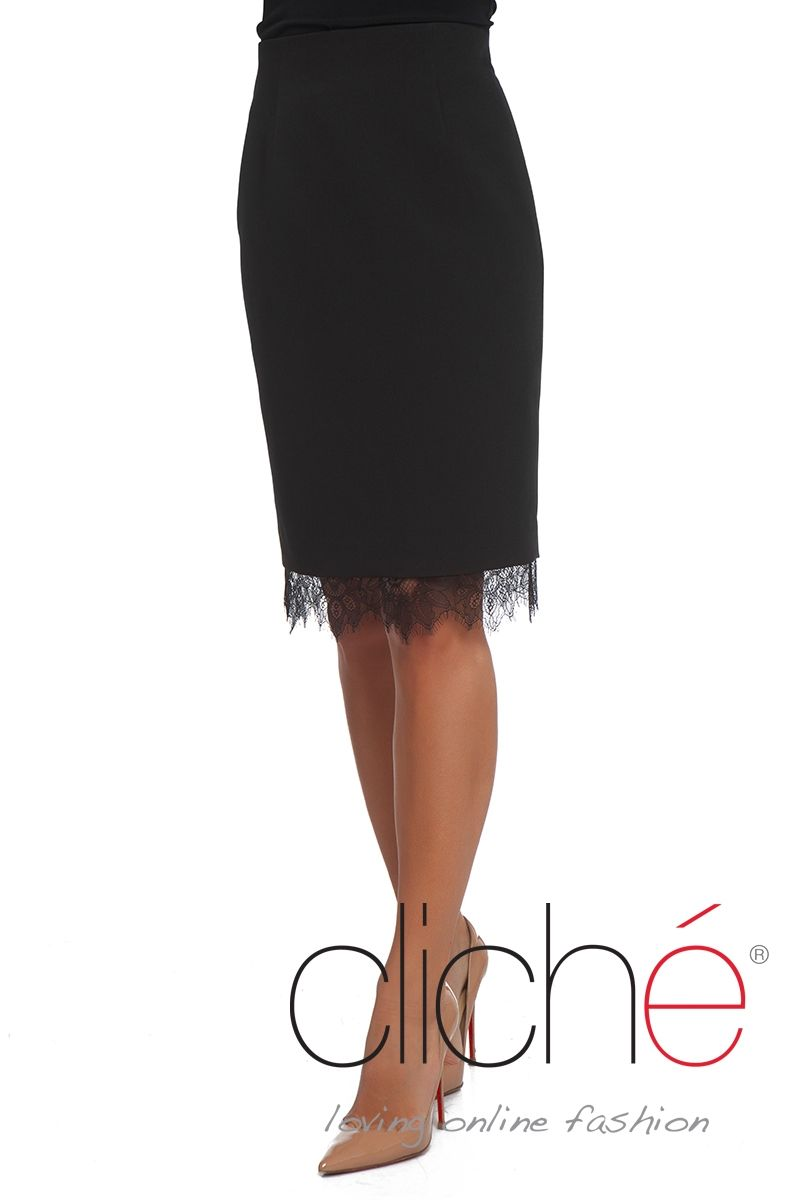 Pencil skirt with lace trim