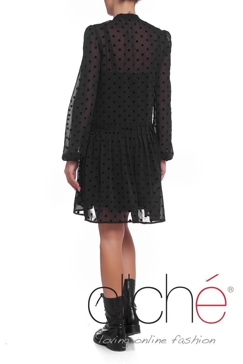 Polka dot shirt dress with frill detail in black
