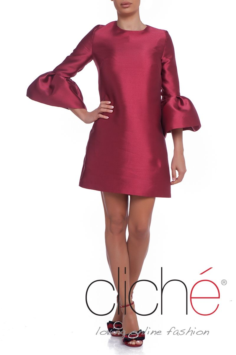 Frill sleeve taffeta smock dress in burgundy