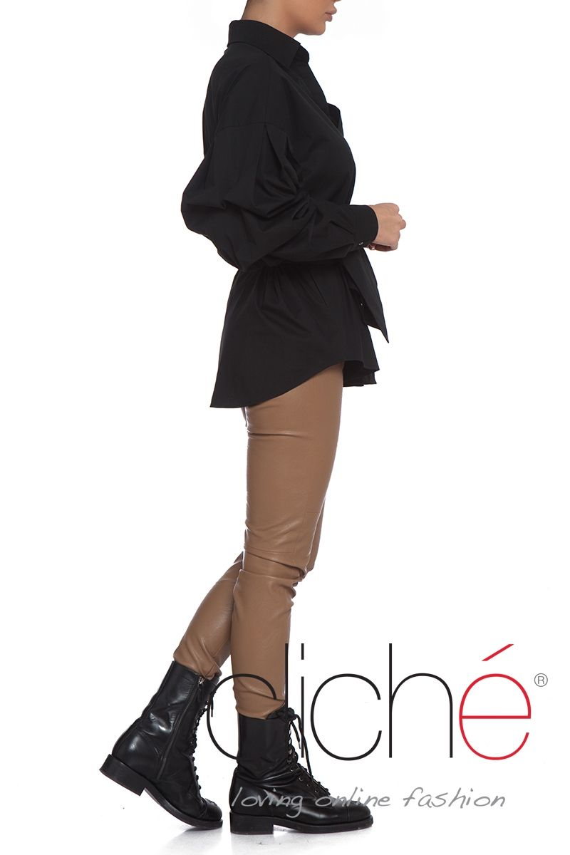 Puff sleeve black belted shirt