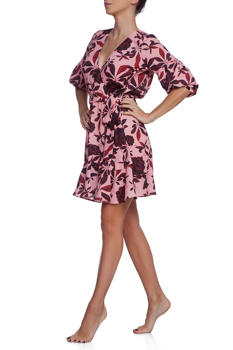 Summer wrap dress with frill detail Desert Rose
