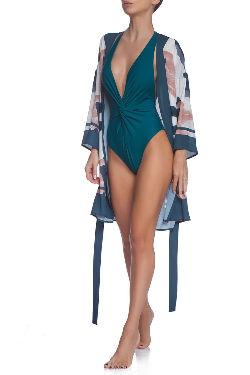 V neck swimsuit in dark green