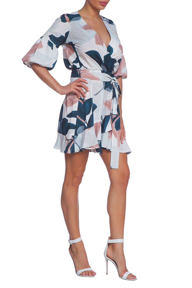 Summer wrap dress with frill detail Agave