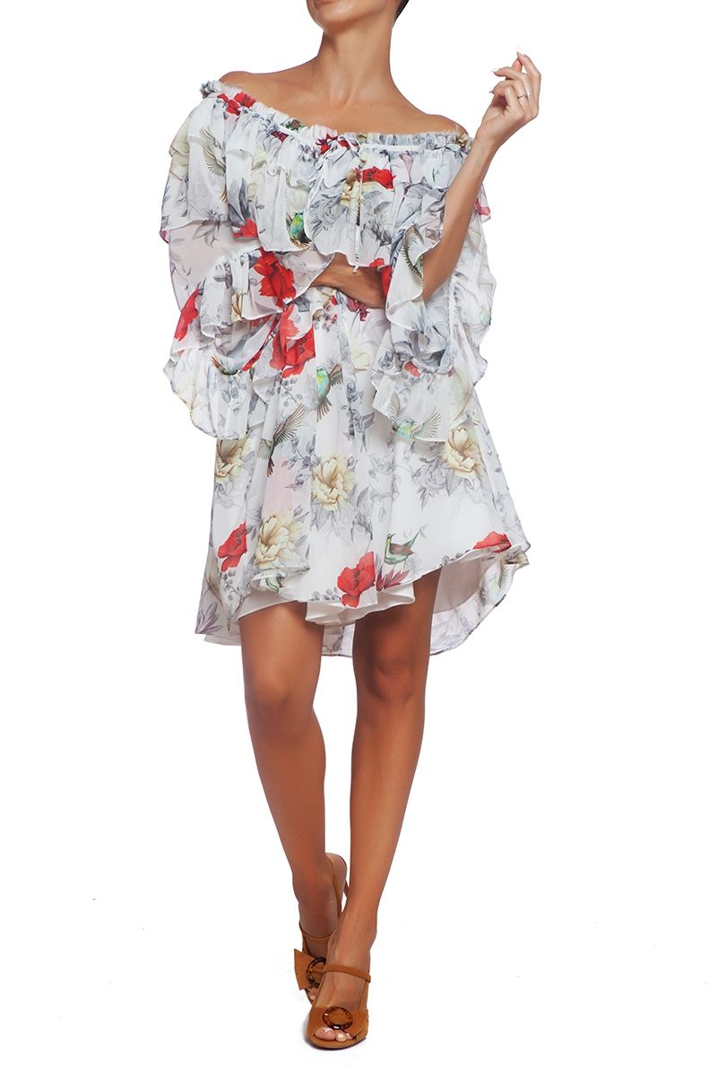 floral-print off-the-shoulder dress