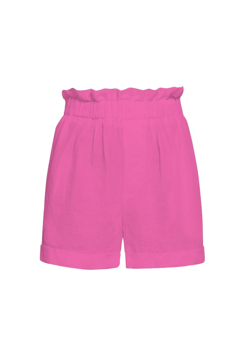 Linen shorts in pink