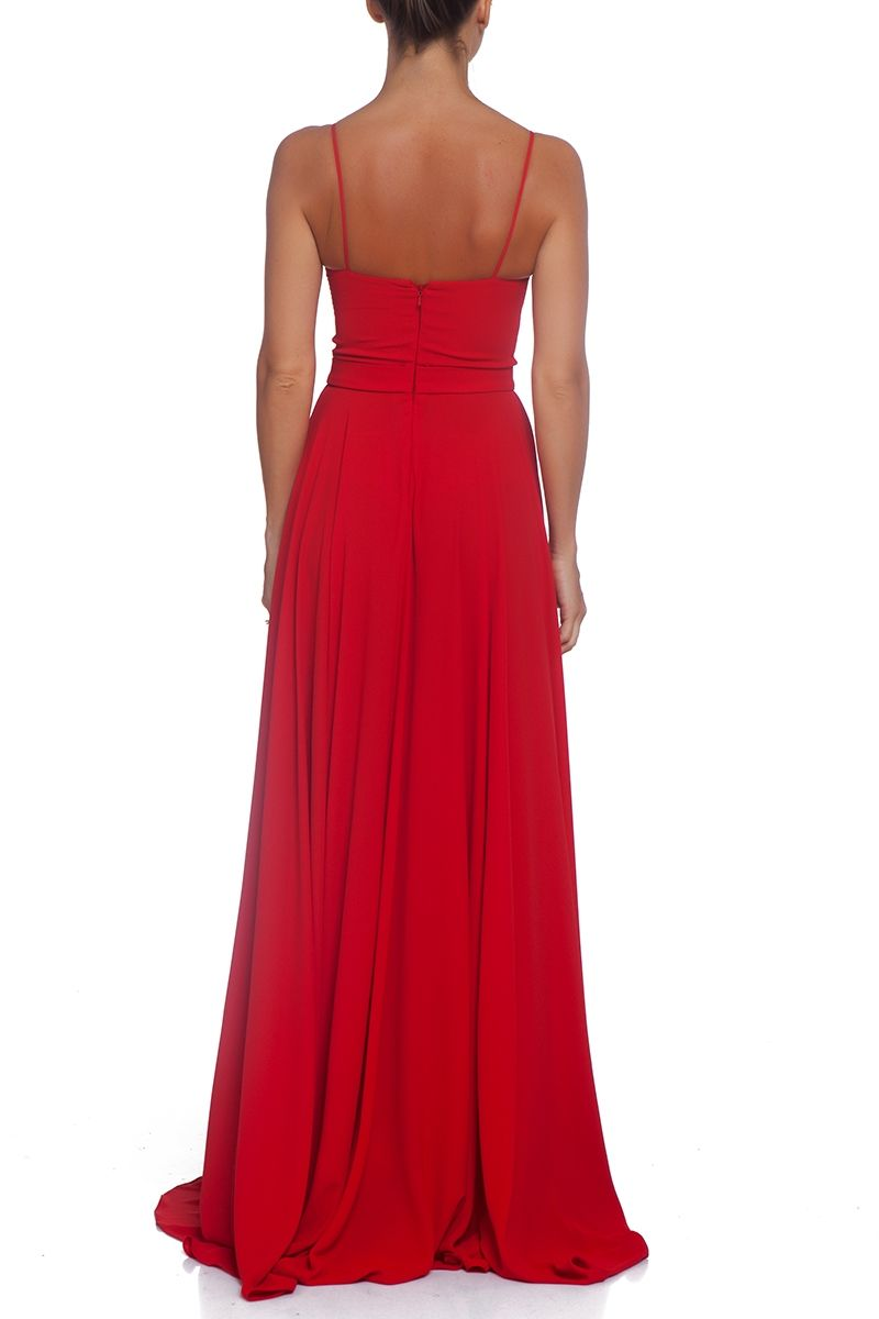 Red evening chiffon dress