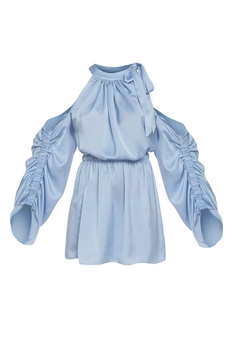 Cold shoulder blue satin dress
