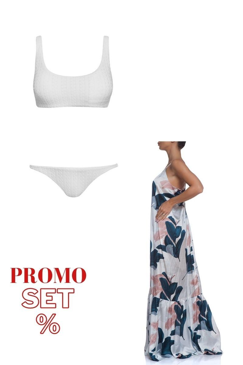 Beach set agave dress and white swimsuit