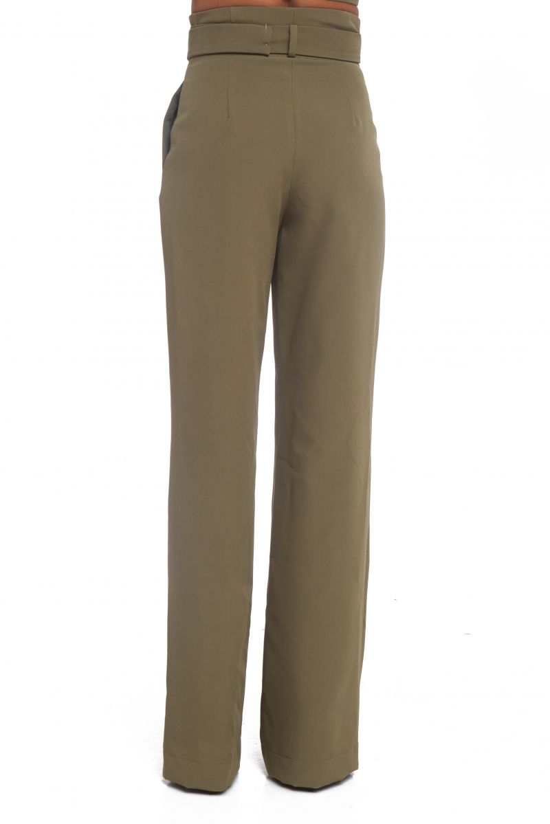 Wide leg trousers in military green