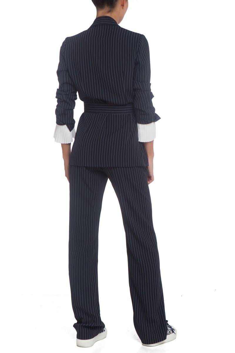 Dark blue pants with stripes