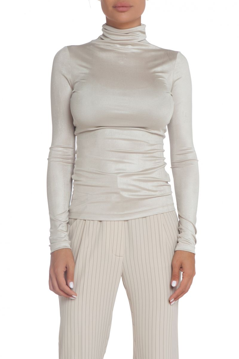 Shiny turtleneck blouse in ecru