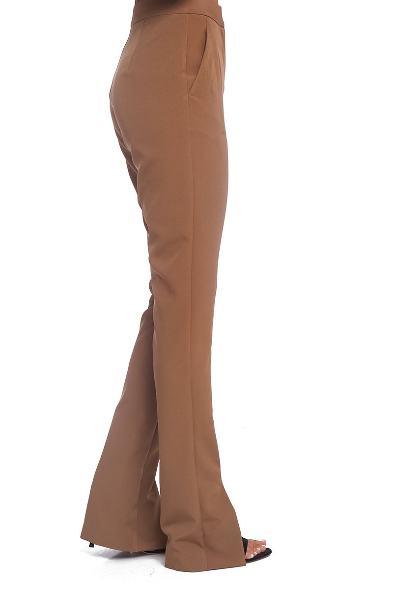 Slit front cigarette pant in brown