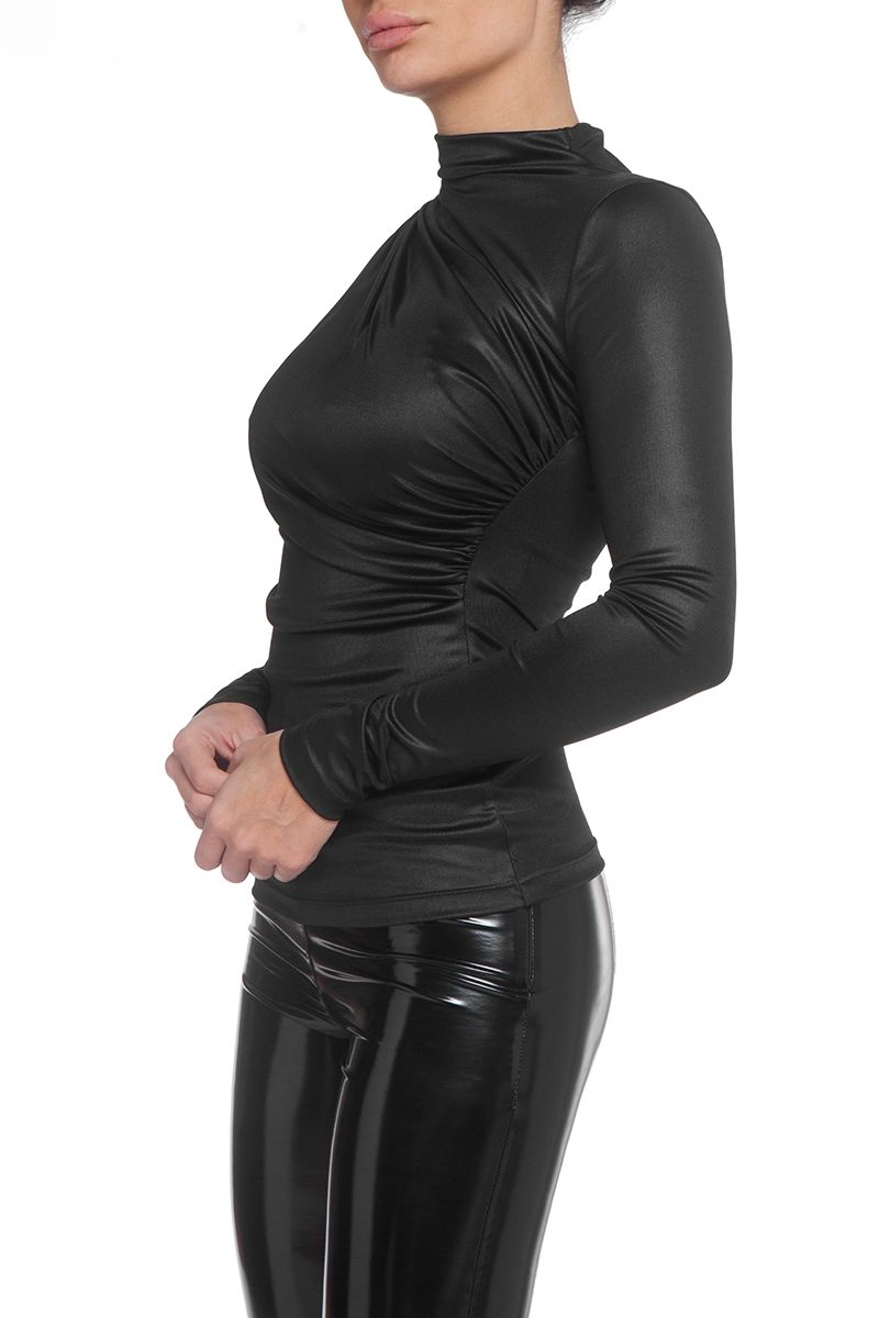Metalic turtleneck blouse in black