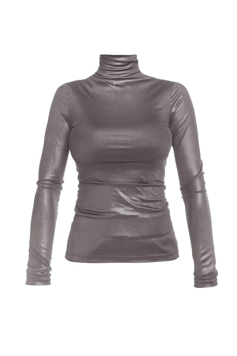 Soft Touch Metallic Turtleneck long sleeve top in grey