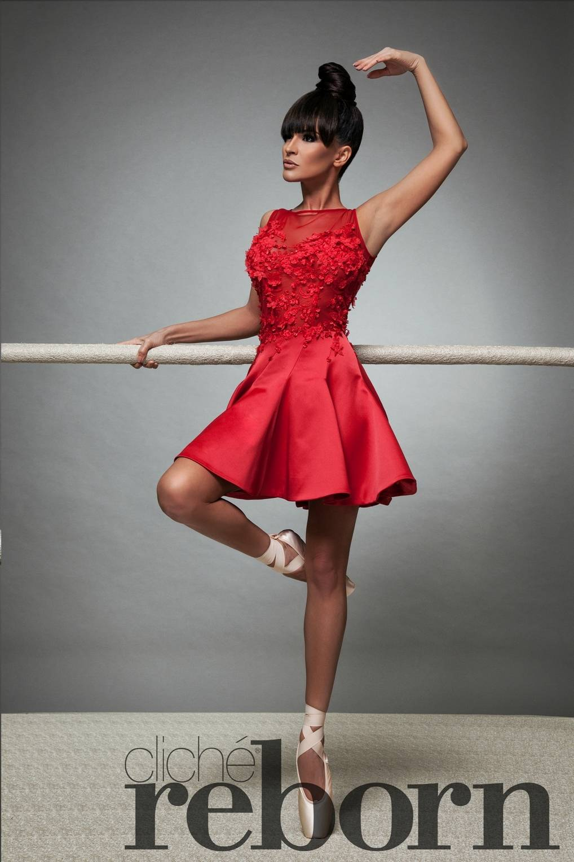 Къса червена рокля с декорация от цветя 94ee8517690