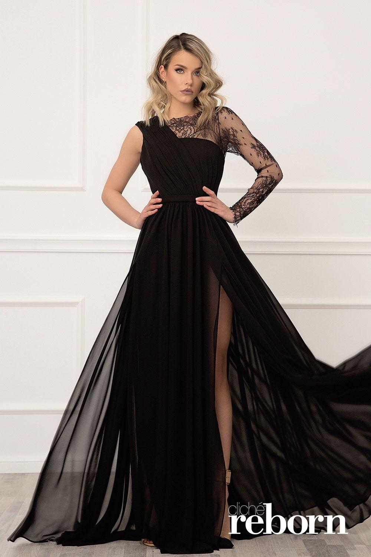 bd6bf773acb Черна рокля с ръкав от френска дантела