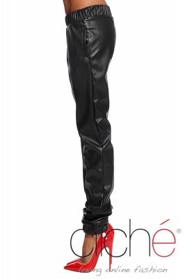 Leather sporty pants