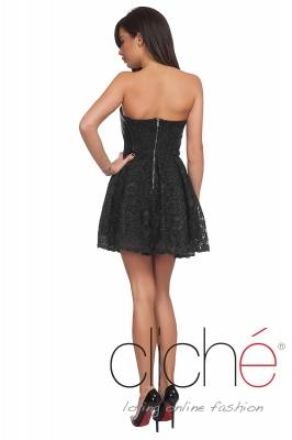 Balerina dress with lace and leather in black