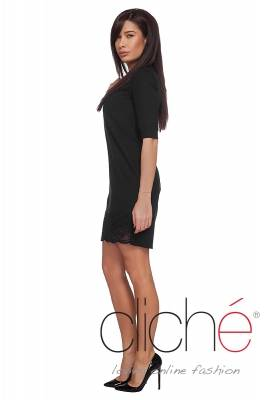 Black mini dress with straight silhouette