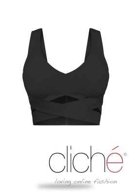 Cross crop top in black