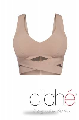 Cross srop top in beige