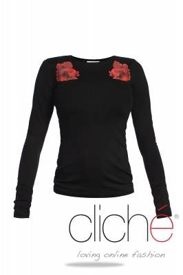 Black blouse with red fishes