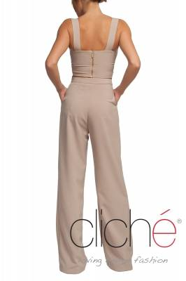 High waist pants in beige
