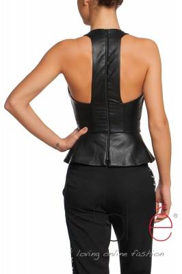 Leather top with peplum