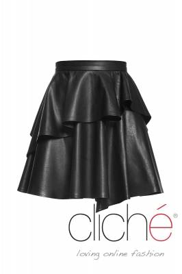 Leather asimetric skirt