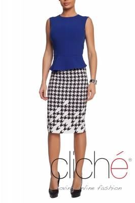 Pencil skirt with dogtooth print