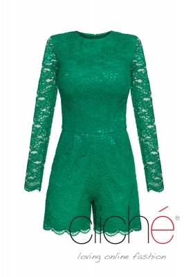 Lace jumpsuit with long sleeves in green