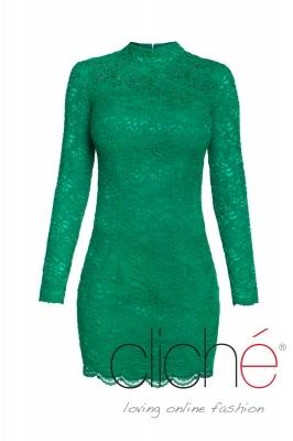 Oil green cocktail dress with Swarovski crystals