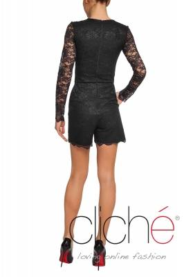 Black laced jumpsuit with long sleeves