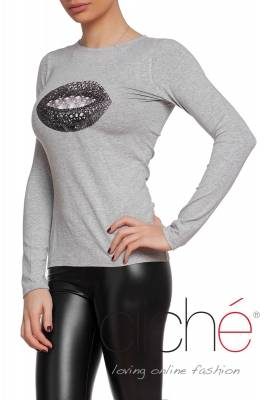 Grey blouse with silver lips