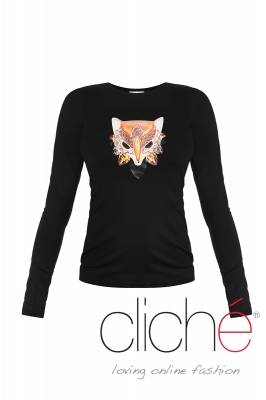 Black blouse with fox