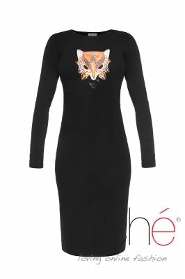 Black knitted dress with foxy print
