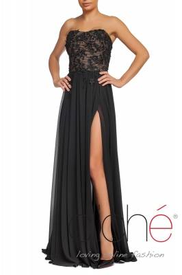 Black long dress with decoration