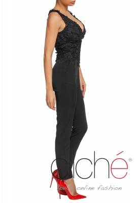 Black jumpsuit with V neck